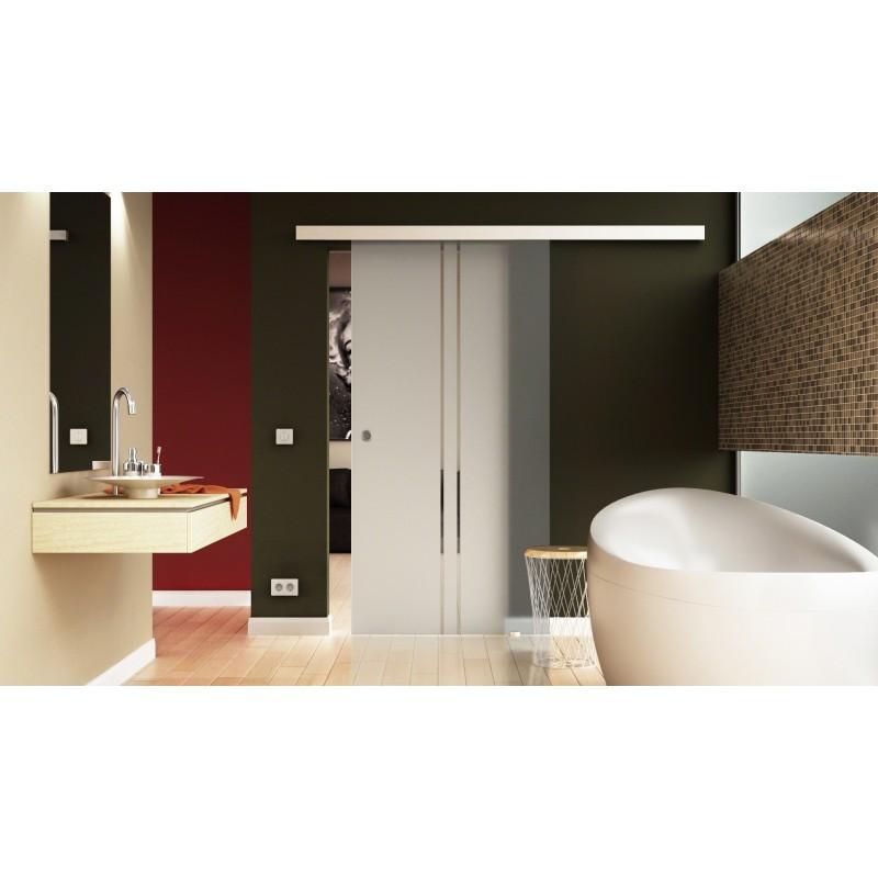 schiebe t re glas innen komplettset 2 senkrechte streifen. Black Bedroom Furniture Sets. Home Design Ideas