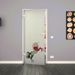 Ganzglastür / Drehtür aus ESG-Glas in Einhorn-Design für Studio Griff und Studio Bänder