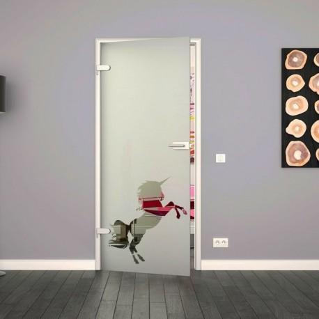 Ganzglastür / Drehtür aus ESG-Glas in 5 Streifen Design für Studio Griff und Studio Bänder
