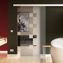 Glasschiebetüren Innenbereich Schiebe Türe Glas Milchglas mit Würfel-Muster
