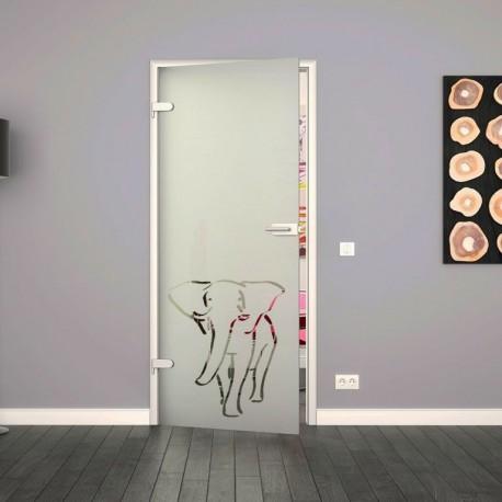 Ganzglastür / Drehtür aus ESG-Glas in Elefanten-Design für Studio Griff und Studio Bänder
