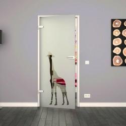Ganzglastür / Drehtür aus ESG-Glas in Giraffen-Design für Studio Griff und Studio Bänder