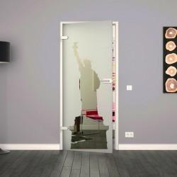 Ganzglastür / Drehtür aus ESG-Glas in New York - Design für Studio Griff und Studio Bänder