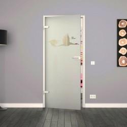Ganzglastür / Drehtür aus ESG-Glas in Schwan-Design für Studio Griff und Studio Bänder
