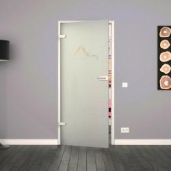 Ganzglastür / Drehtür aus ESG-Glas in Vögel-Design für Studio Griff und Studio Bänder