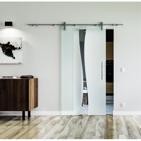 Design Berlin (B) Glasschiebetür Edelstahlbeschlag mit offenen Laufrollen LEVIDOR