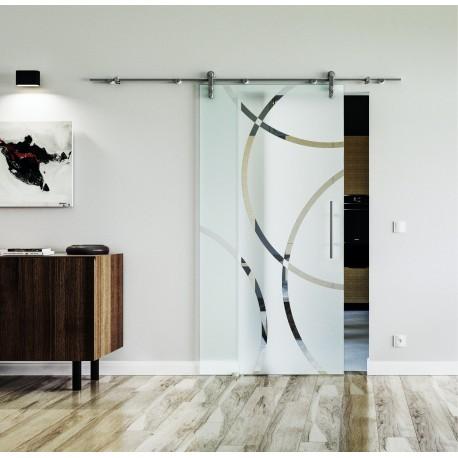 Design Circle (C) Glasschiebetür Edelstahlbeschlag mit offenen Laufrollen LEVIDOR