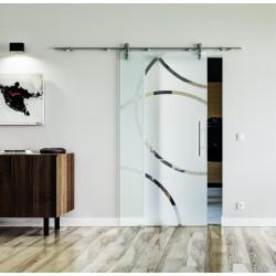 Design Circle Denver (D) Glasschiebetür Edelstahlbeschlag mit offenen Laufrollen LEVIDOR