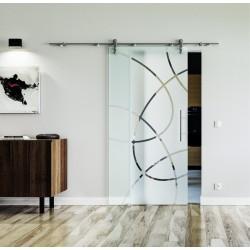 Design Ellipsen (E) Glasschiebetür Edelstahlbeschlag mit offenen Laufrollen LEVIDOR