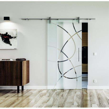 Design Ellipse (E) Glasschiebetür Edelstahlbeschlag mit offenen Laufrollen LEVIDOR