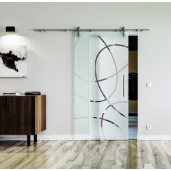 Design Ellipsen Frankfurt (F) Glasschiebetür Edelstahlbeschlag mit offenen Laufrollen LEVIDOR