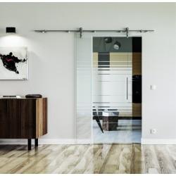 Design Horizont (H) Glasschiebetür Edelstahlbeschlag mit offenen Laufrollen LEVIDOR