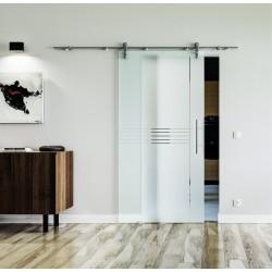 Design Idea (I) Glasschiebetür Edelstahlbeschlag mit offenen Laufrollen LEVIDOR