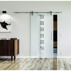 Design Quadrat (Q) Glasschiebetür Edelstahlbeschlag mit offenen Laufrollen LEVIDOR