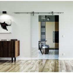 Design Rekursiv (R) Glasschiebetür Edelstahlbeschlag mit offenen Laufrollen LEVIDOR