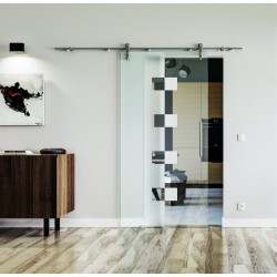 Design Würfel (W) Glasschiebetür Edelstahlbeschlag mit offenen Laufrollen LEVIDOR