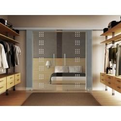 Glasschiebetür Rekursiv-Design (R) Basic-Beschlag Levidor / Glaslager.de 2 Scheiben