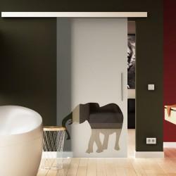 Glasschiebetür Basic-Beschlag Levidor / Glaslager.de Elefanten-Design (2)
