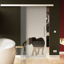 Glasschiebetür Elefanten-Design neu komplett hochwertig