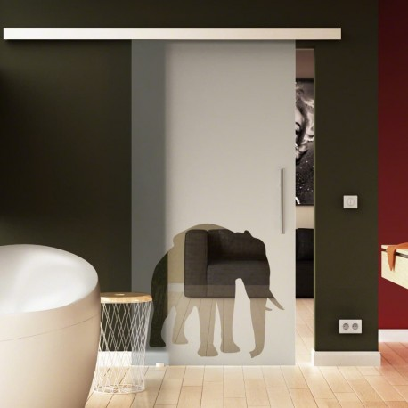 Glasschiebetür Basic-Beschlag Levidor / Glaslager.de Elefanten-Design (4)