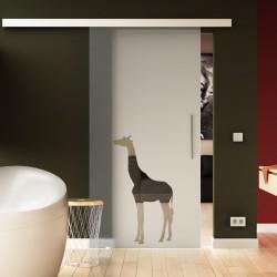 Glasschiebetür Basic-Beschlag Levidor / Glaslager.de Giraffen-Design (2)