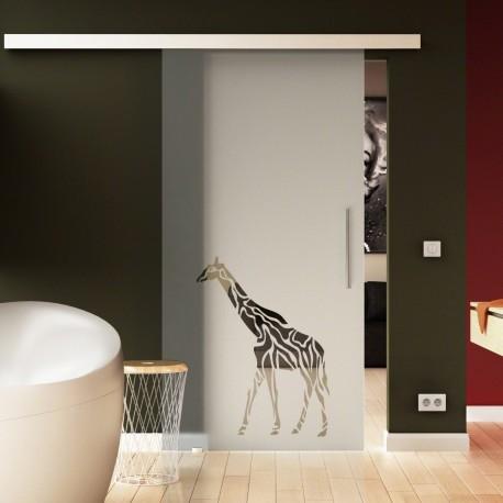 Glasschiebetür Basic-Beschlag Levidor / Glaslager.de Giraffen-Design (3)