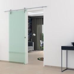 Klarglas (K) Glasschiebetür Edelstahlbeschlag mit offenen Laufrollen LEVIDOR