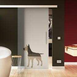 Glasschiebetür Basic-Beschlag Levidor Hund - Design (2) satiniert