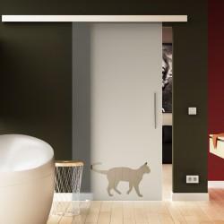 Glasschiebetür Levidor Katze - Design Komplettset softclose möglich