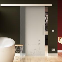 Glasschiebetür Basic-Beschlag Levidor / Glaslager.de Katze - Design (2)