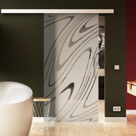 Glasschiebetür Wasser-Design Basic-Beschlag Levidor / Glaslager.de