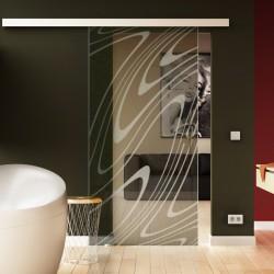 Glasschiebetür Wasser-Design (invers) Basic-Beschlag Levidor / Glaslager.de