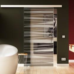 Glasschiebetür Stufen-Design Basic-Beschlag Levidor / Glaslager.de