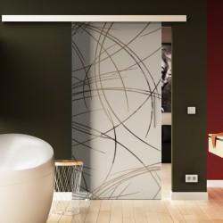 Glasschiebetür Kurven-Design (2) Basic-Beschlag Levidor / Glaslager.de
