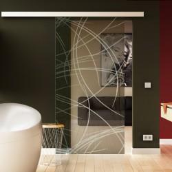 Glasschiebetür Kurven-Design (2 - invers) Basic-Beschlag Levidor / Glaslager.de