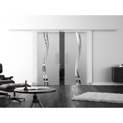 Levidor SoftClose-Schiebetür Wellen-Design (A) 2 Glasscheiben