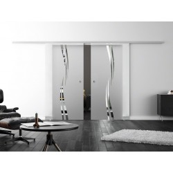 Levidor SoftClose-Schiebetür ProfiSlide Wellen-Design (A) 2 Glasscheiben
