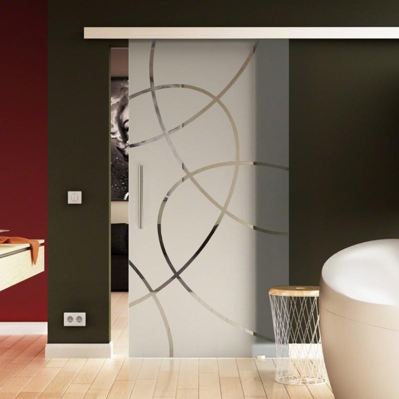 Schiebetür Glas satiniert Design-Tür Exklusiv-Design ...