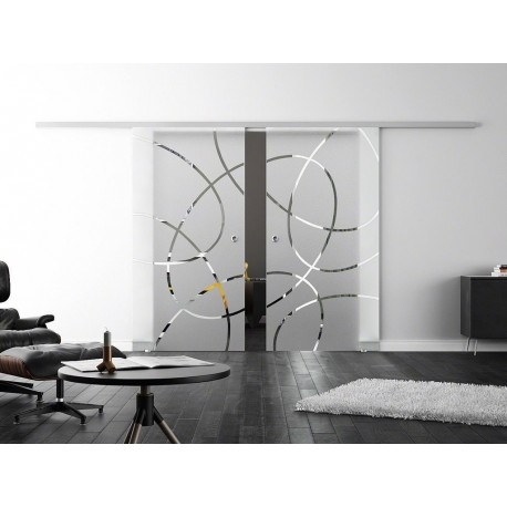 Levidor SoftClose-Schiebetür Ellipsen-Design (EF) 2 Glasscheiben