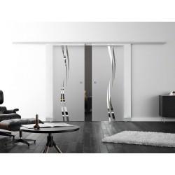 Dorma Agile 50 Glasschiebetür Wellen-Design (A) 2 Scheiben