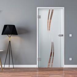 Ganzglastür Drehtür aus ESG-Glas in Wellen-Design für Studio Griff und Studio Bänder oder Studio / Office