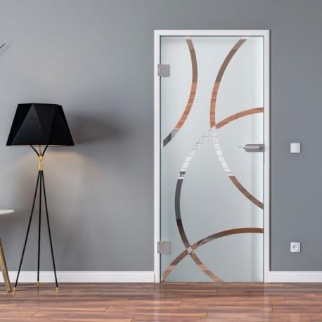 Ganzglastür Drehtür aus ESG-Glas in Circle-Design für Studio Griff und Studio Bänder oder Studio / Office