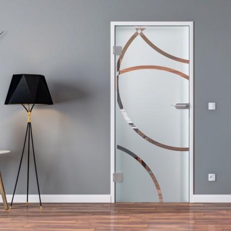 Ganzglastür Drehtür aus ESG-Glas in Circle-Design Denver für Studio Griff und Studio Bänder oder Studio / Office