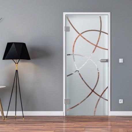 Ganzglastür Drehtür aus ESG-Glas in Ellipsen-Design für Studio Griff und Studio Bänder oder Studio / Office