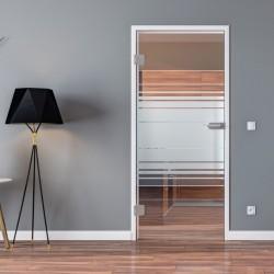 Ganzglastür Drehtür aus ESG-Glas in Horizont-Design für Studio Griff und Studio Bänder oder Studio / Office