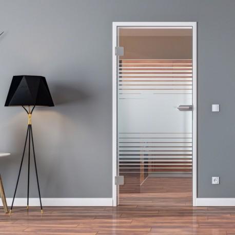 Ganzglastür Drehtür aus ESG-Glas in Lamellen-Design für Studio Griff und Studio Bänder oder Studio / Office