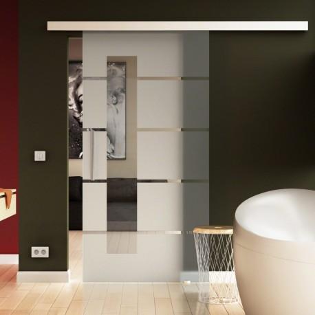 Glasschiebetür Streifen-Design mit Lichtausschnitt - Schiebe Tür Glas