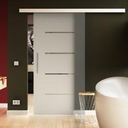 Glasschiebetür Streifen-Design - Schiebe Tür Glas mit eleganten Streifen