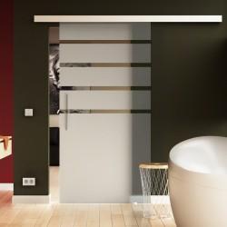 Glasschiebetür Streifen-Oben-Design - Schiebe Tür Glas mit zeitlosem Streifen-Design