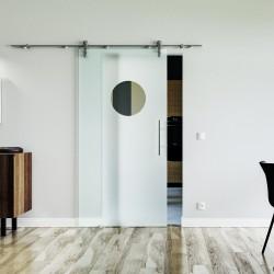 Kreis-Design / Guckloch Glasschiebetür Edelstahlbeschlag mit offenen Laufrollen LEVIDOR